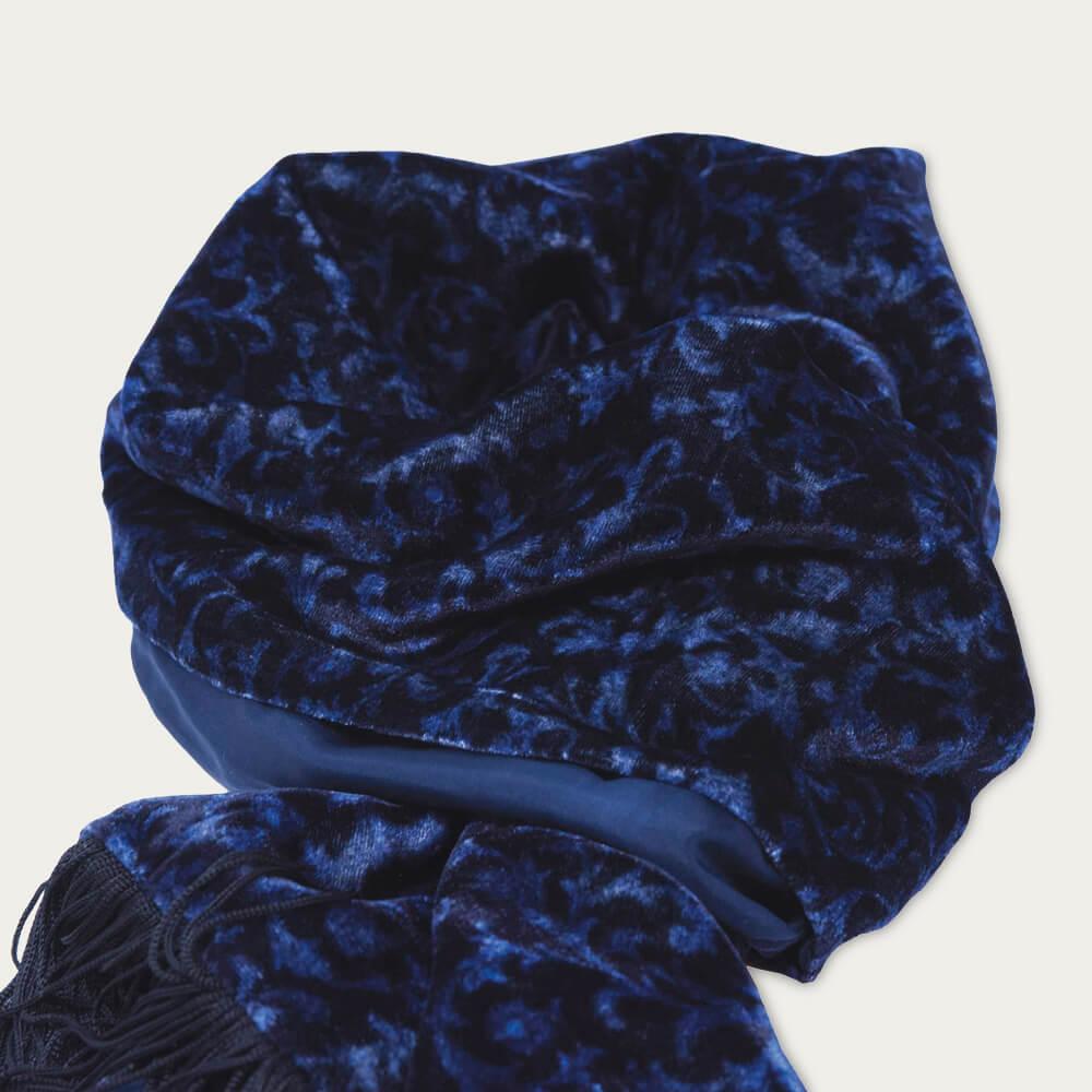 Navy Blue Velvet & Silk Scarf | Bombinate