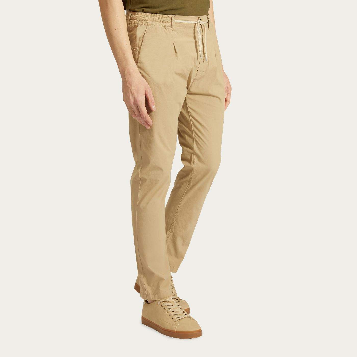Beige Stretch Cotton Mitte Trousers   Bombinate