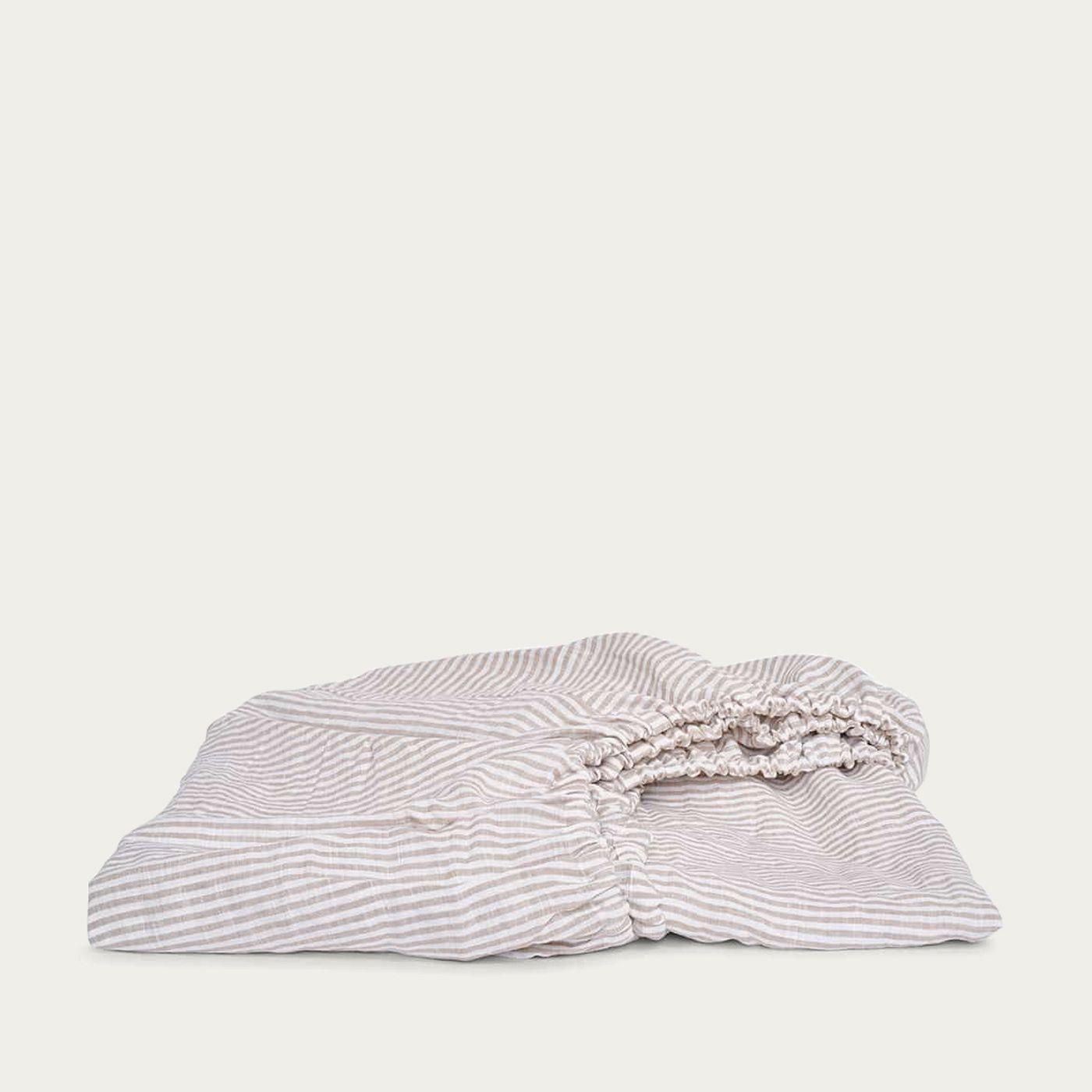 Beige/White Linen Fitted Sheet | Bombinate