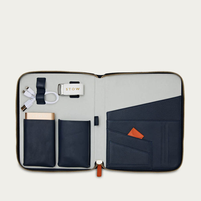 Sapphire Blue & Pale Grey The First Class Leather Tech Case | Bombinate