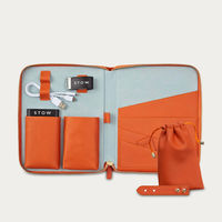 Amber Orange & Dusty Aqua The First Class Leather Tech Set | Bombinate