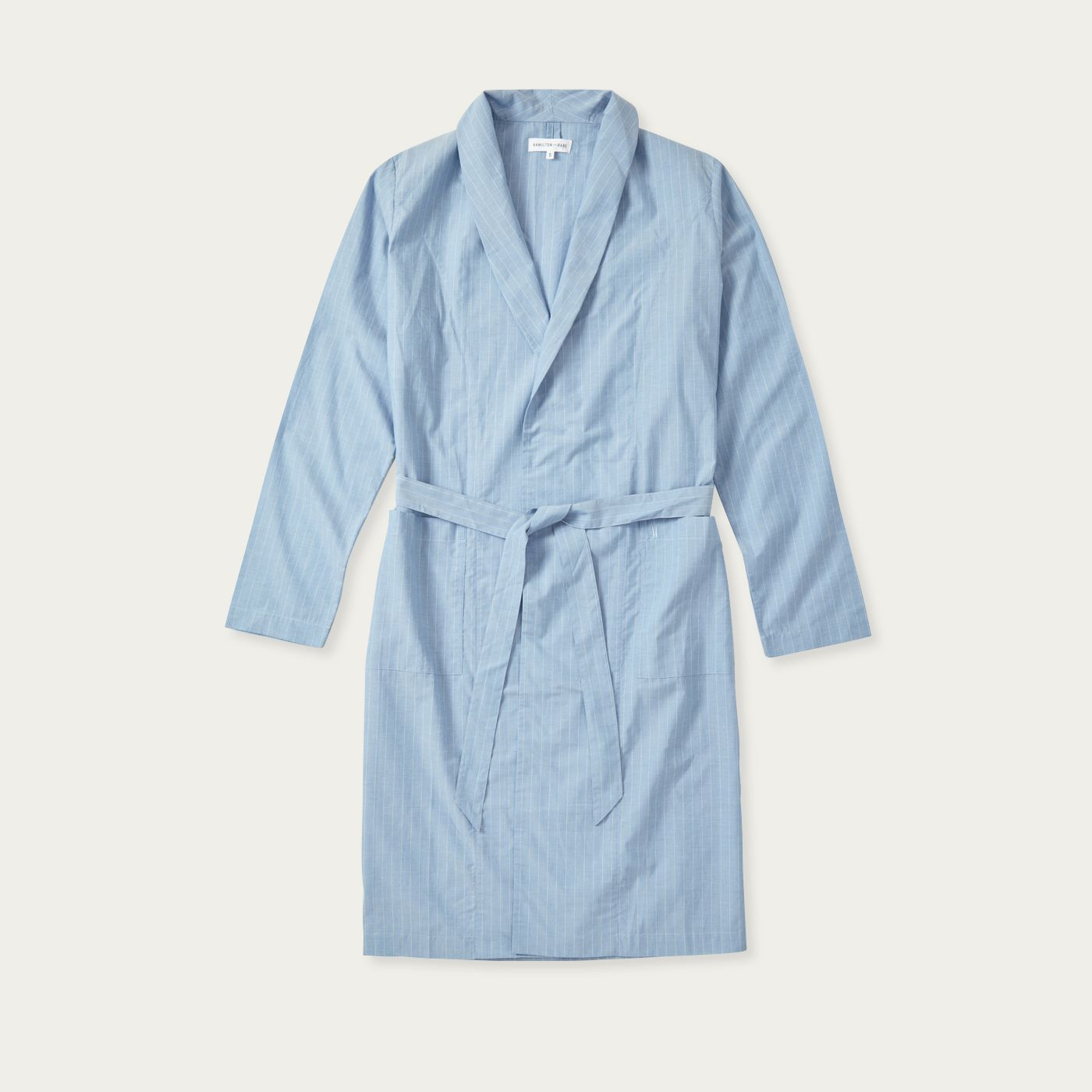 Blue White Pinstripe Relax Cotton Robe | Bombinate