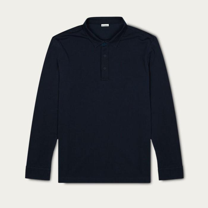 Dark Navy Matteo Long Sleeve Polo Shirt | Bombinate