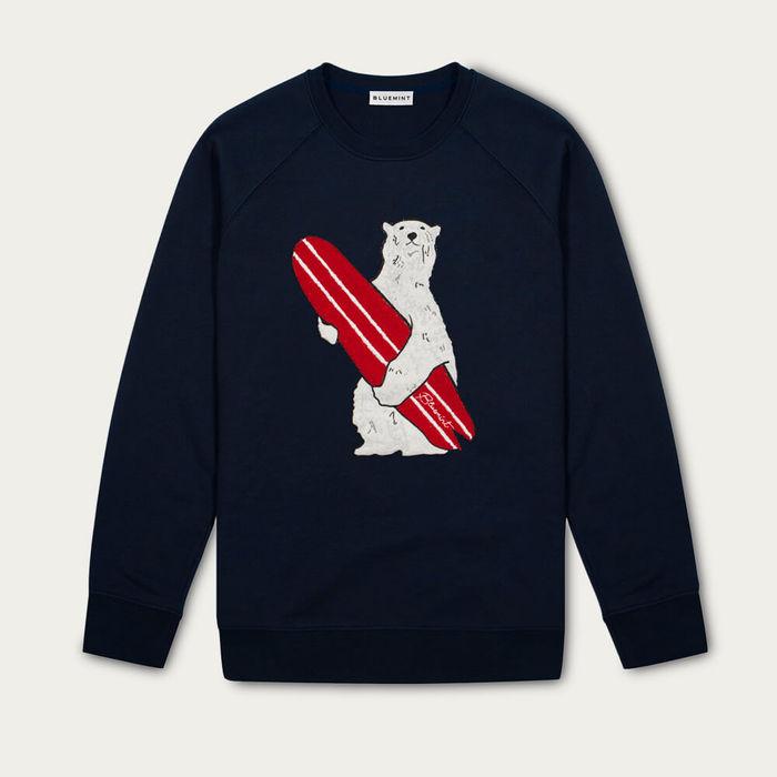 Dark Navy Diego Embroidered Cotton Sweatshirt | Bombinate