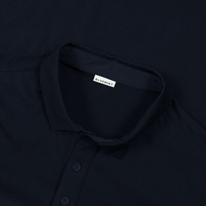 Dark Navy Matteo Long Sleeve Polo Shirt | Bombinate