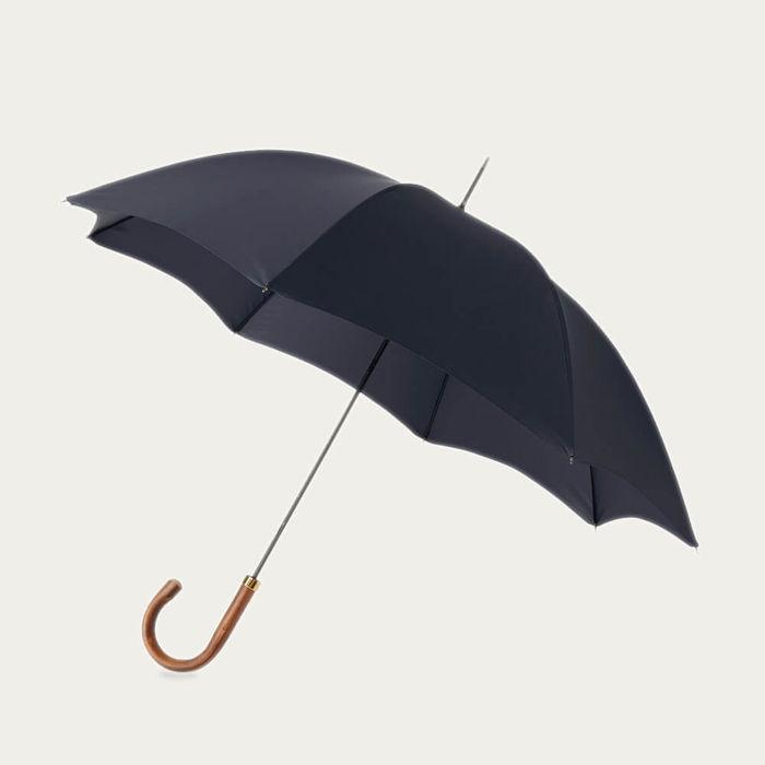 Midnight Navy Gentlemen's Umbrella Natural Chestnut   Bombinate