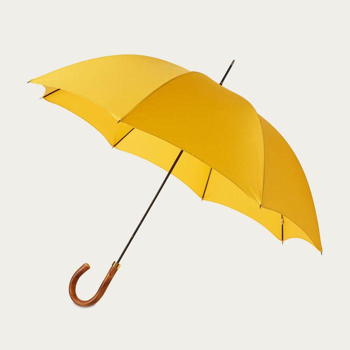 Sunshine Yellow Gentlemen's Umbrella Natural Chestnut | Bombinate