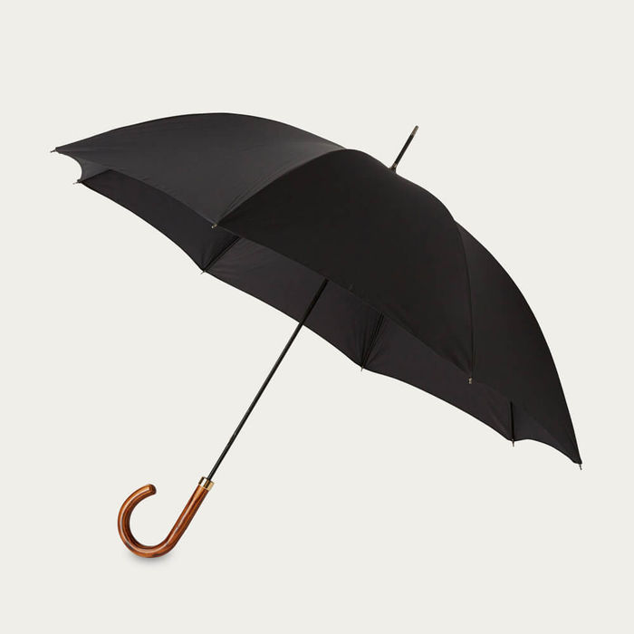 Pitch Black Gentlemen's Umbrella Elm | Bombinate