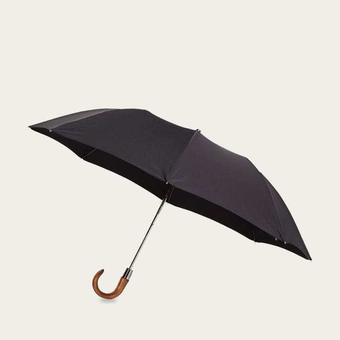 Pitch Black Telescopic Umbrella Smooth Maple | Bombinate