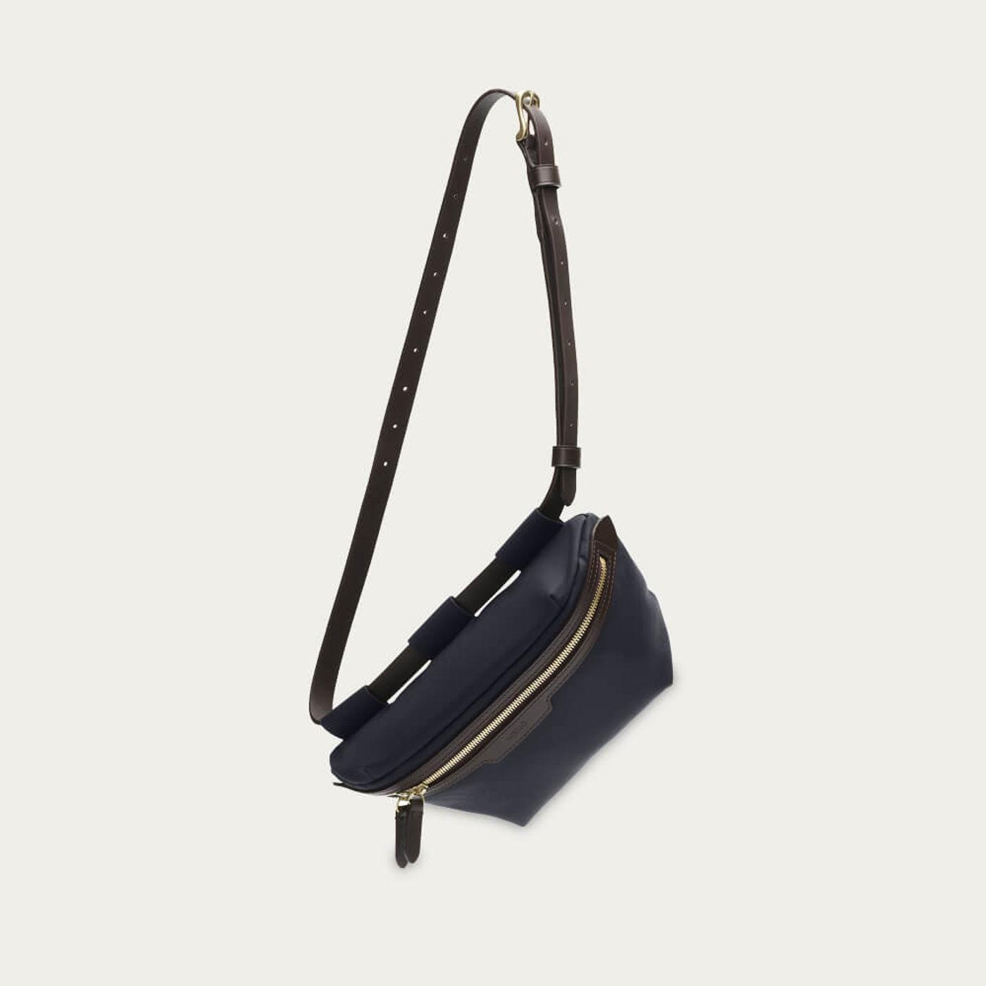 Navy-Dark Brown M/S Belt Bag   Bombinate