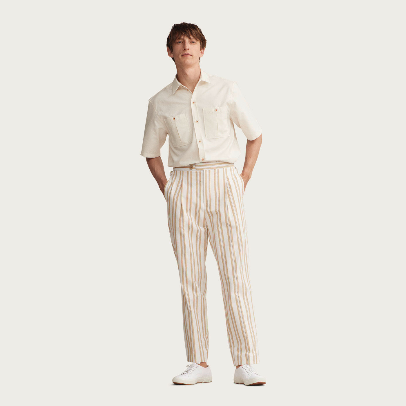 Stripe Cotton Pleat Trouser  | Bombinate