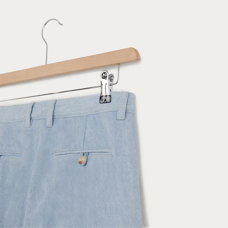 Faded Denim Wide Leg Pleat Trouser | Bombinate