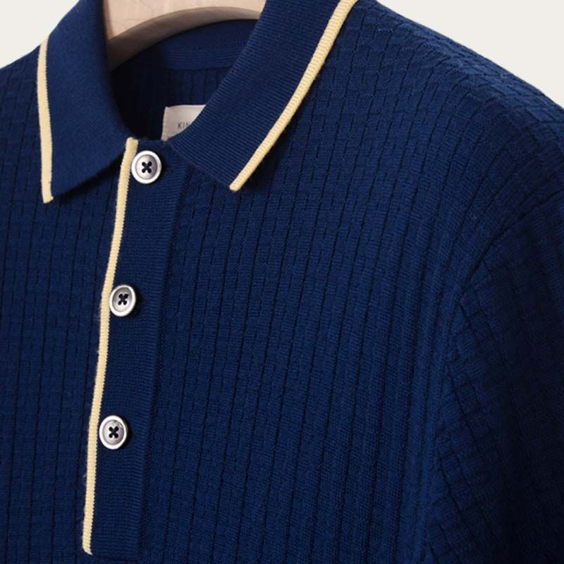 Navy and Citron Textured Polo | Bombinate
