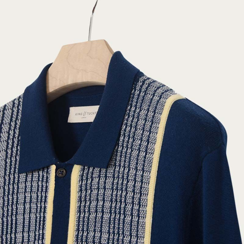 Navy and Citron Knitted Pattern Shirt  | Bombinate