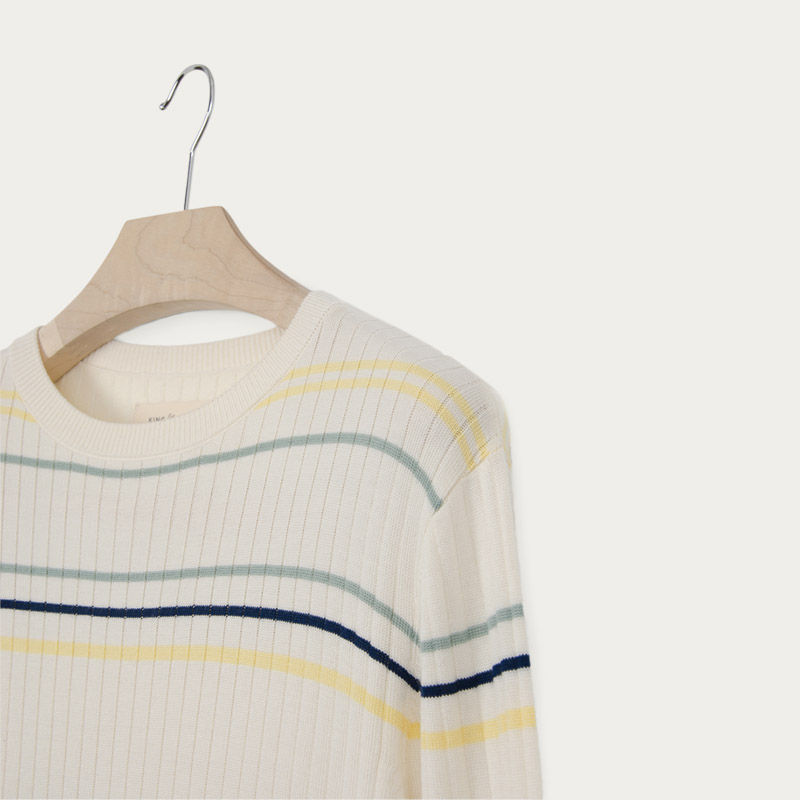Vanilla Ice Stripe Textured Rib Crew Knit | Bombinate