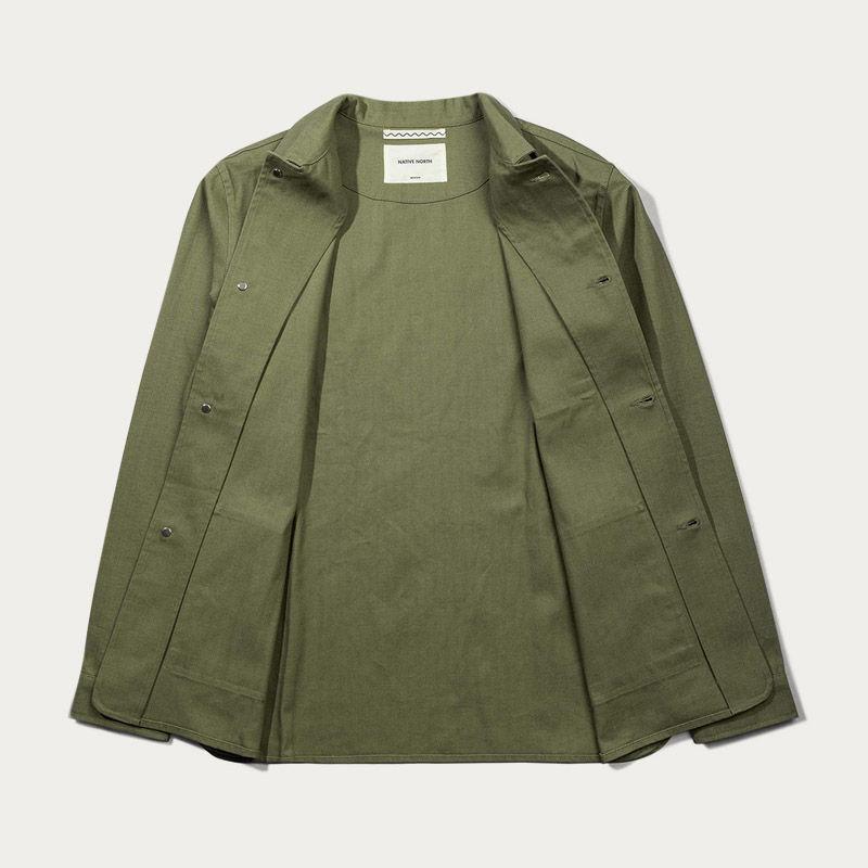Green Herringbone Utility Jacket  | Bombinate