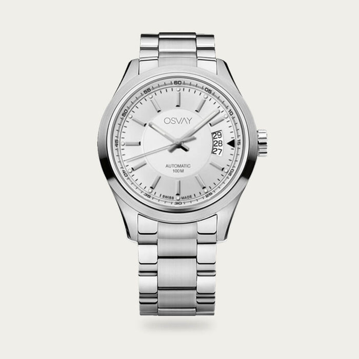 Steel with White Dial Osvay 500 Watch | Bombinate