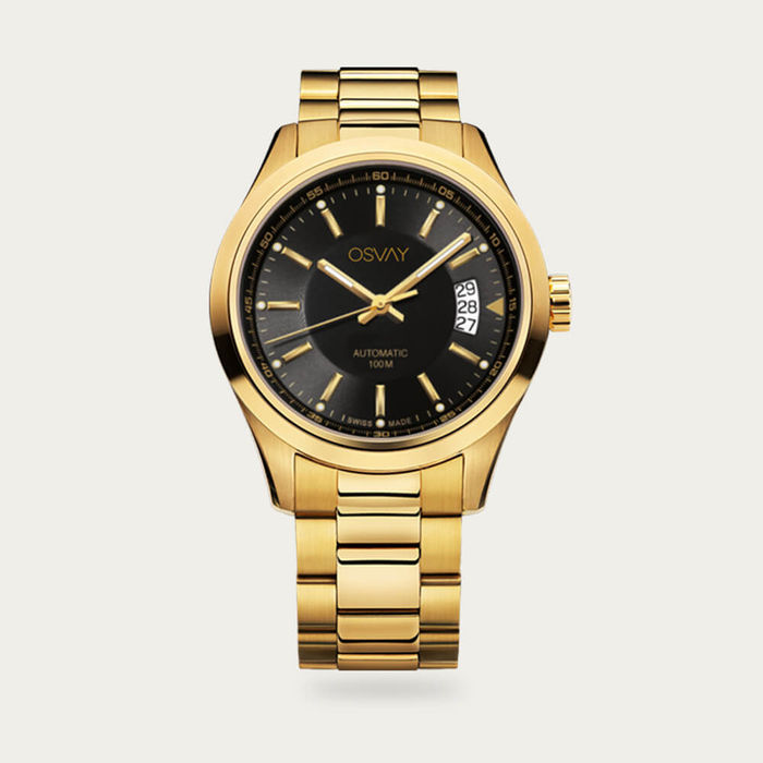 Gold with Black Dial Osvay 500 Watch | Bombinate