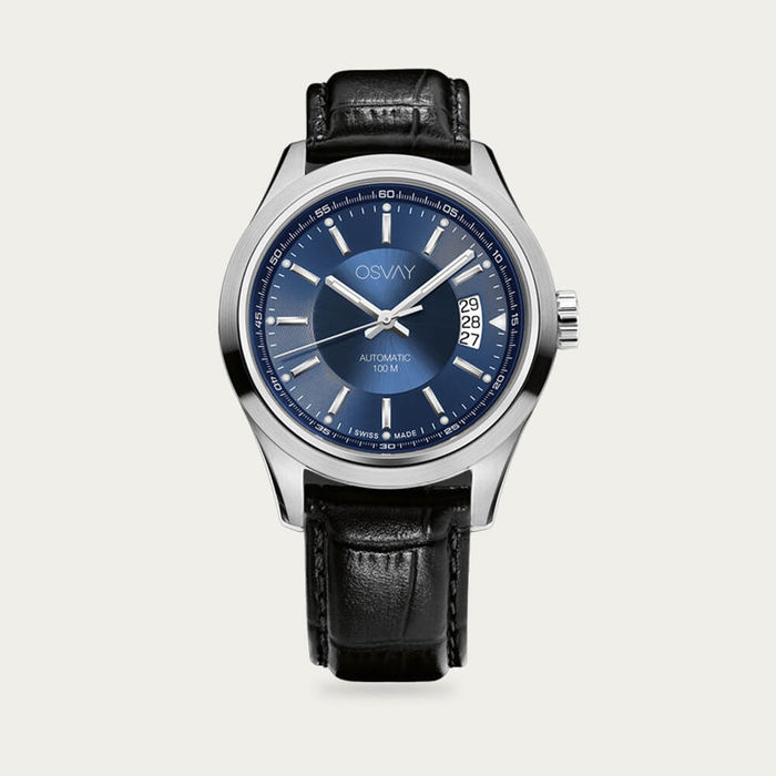 Blue Dial with Black Leather Osvay 500 Watch   Bombinate