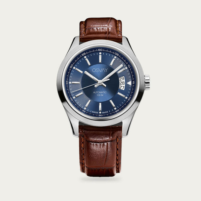 Blue Dial with Tan Leather Osvay 500 Watch | Bombinate