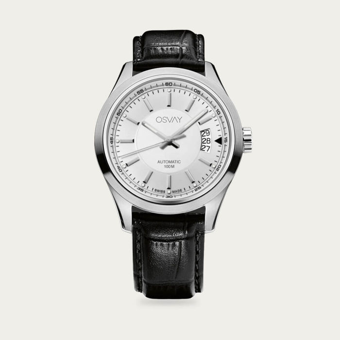 White Dial with Black Leather Osvay 500 Watch | Bombinate