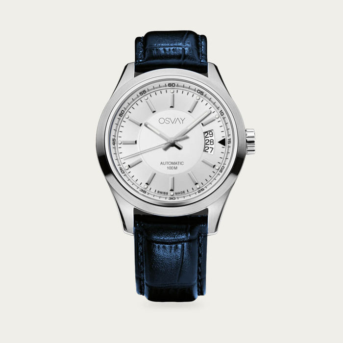 White Dial with Blue Leather Osvay 500 Watch | Bombinate