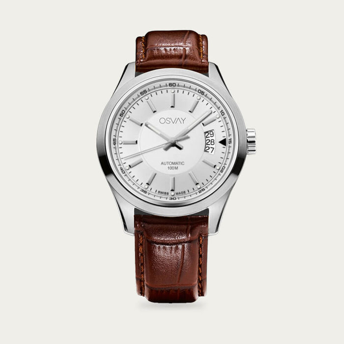 White Dial with Tan Leather Osvay 500 Watch | Bombinate