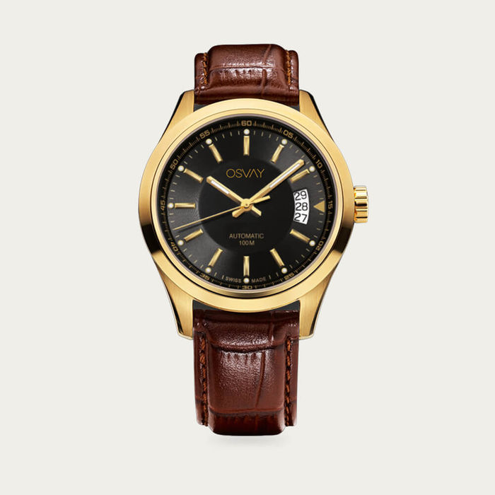 Black & Gold Dial with Tan Leather Osvay 500 Watch   Bombinate
