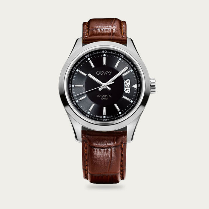 Black Dial with Tan Leather Osvay 500 Watch | Bombinate