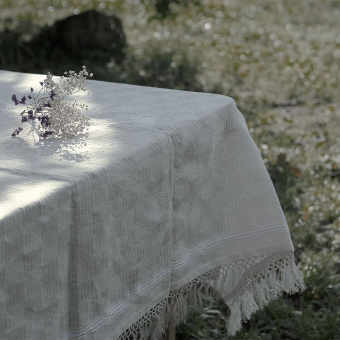 White Artisanal Linen Tablecloth   Bombinate
