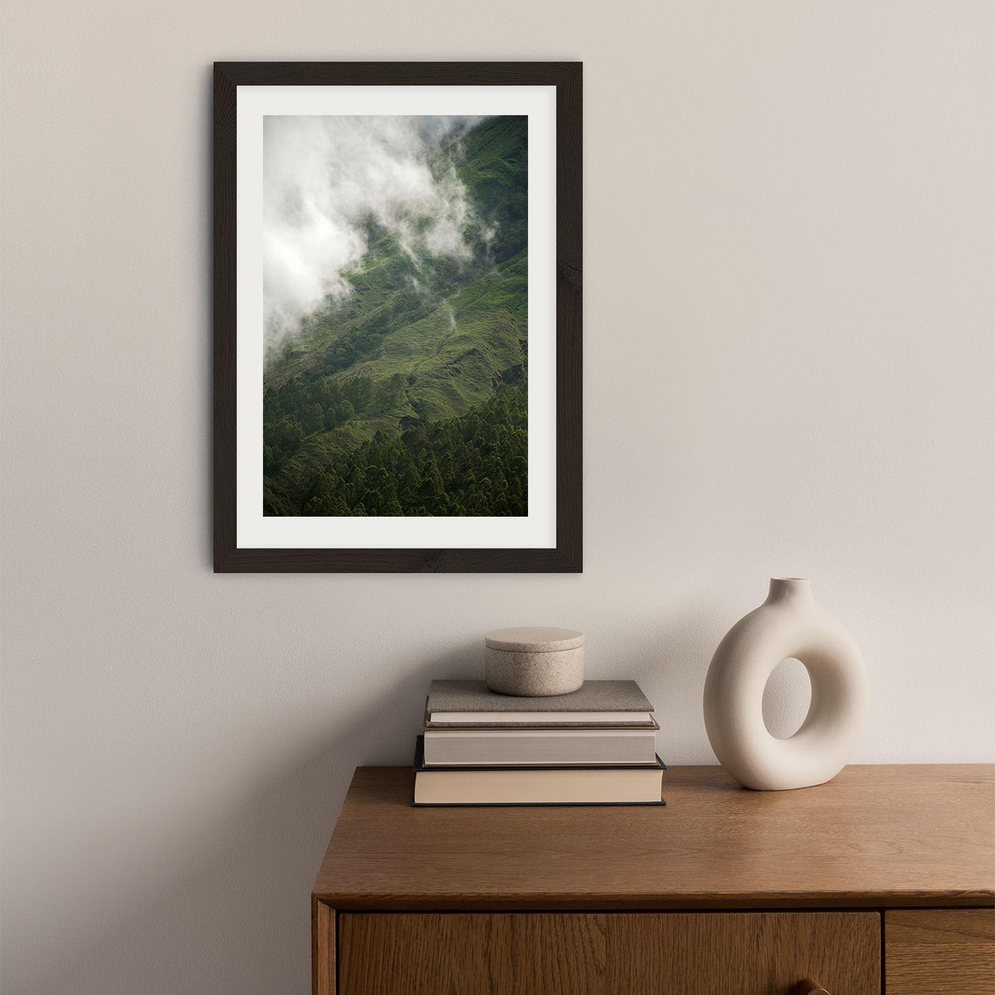Hiking Through Clouds & Fog Art Print Black Frame | Bombinate
