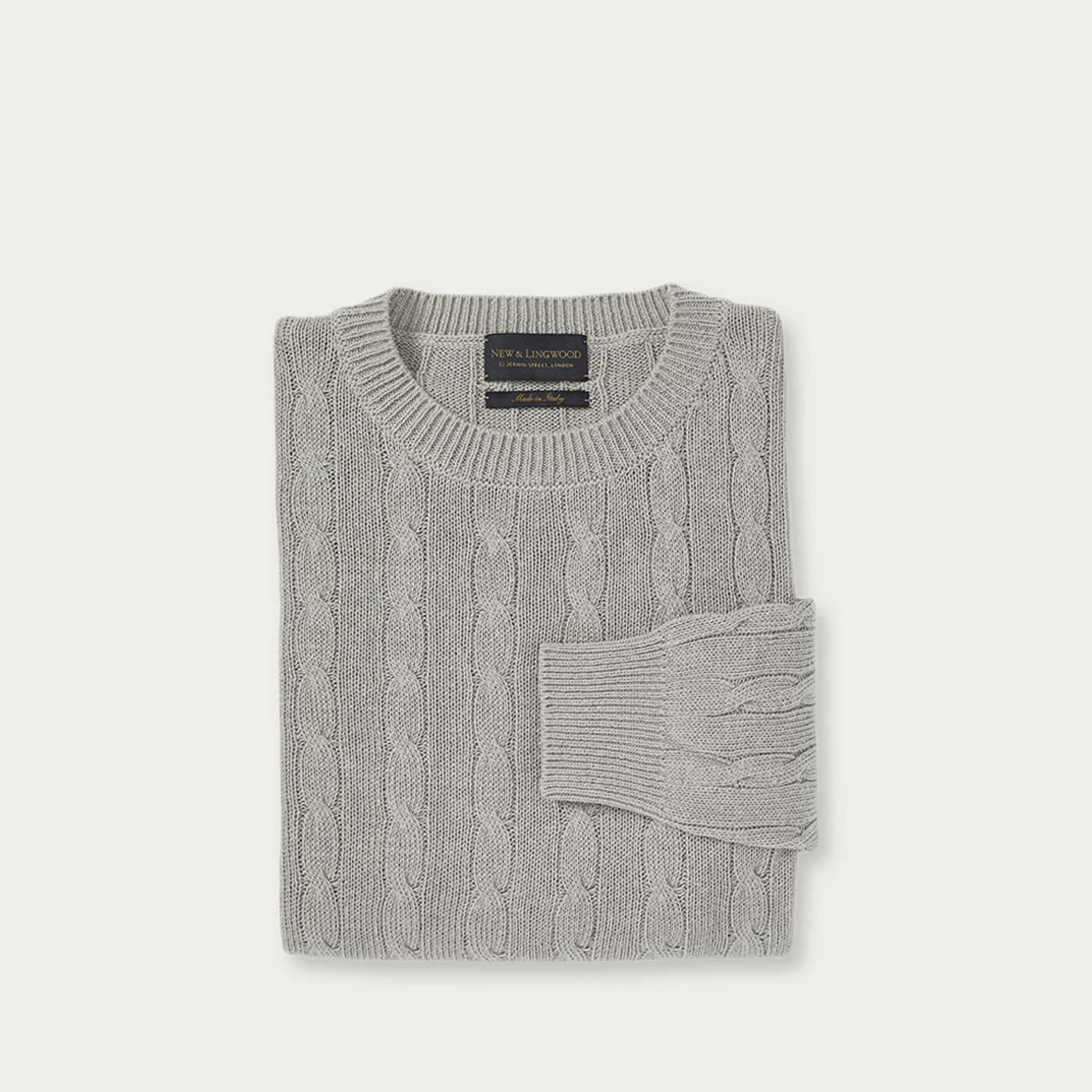 Grey Cable Knit Silk Sweater | Bombinate