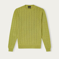 Lime Cable Knit Silk Sweater   Bombinate