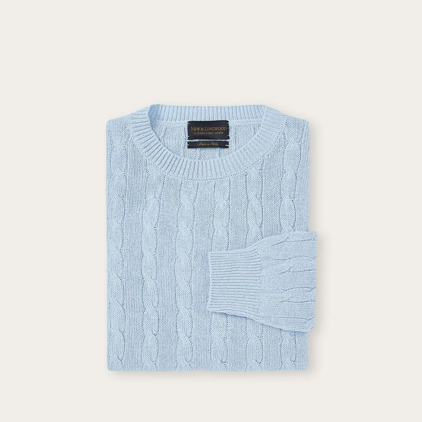 Light Blue Cable Knit Silk Sweater | Bombinate