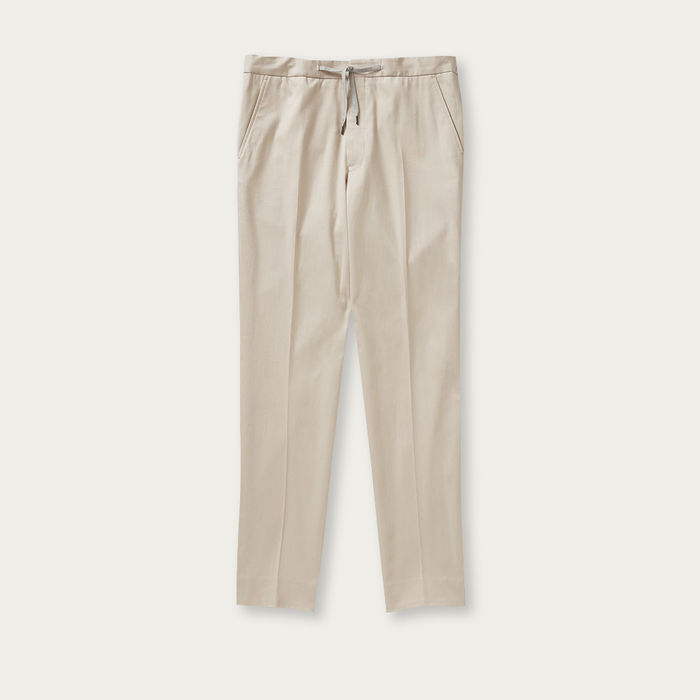 Stone Flat Front Drawstring Trousers | Bombinate