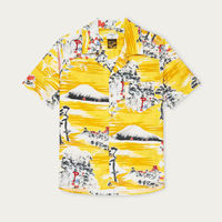 Mustard Fuji Pagoda Cuban Short Sleeve Shirt | Bombinate