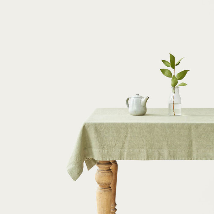 Sage Washed Linen Tablecloth   Bombinate
