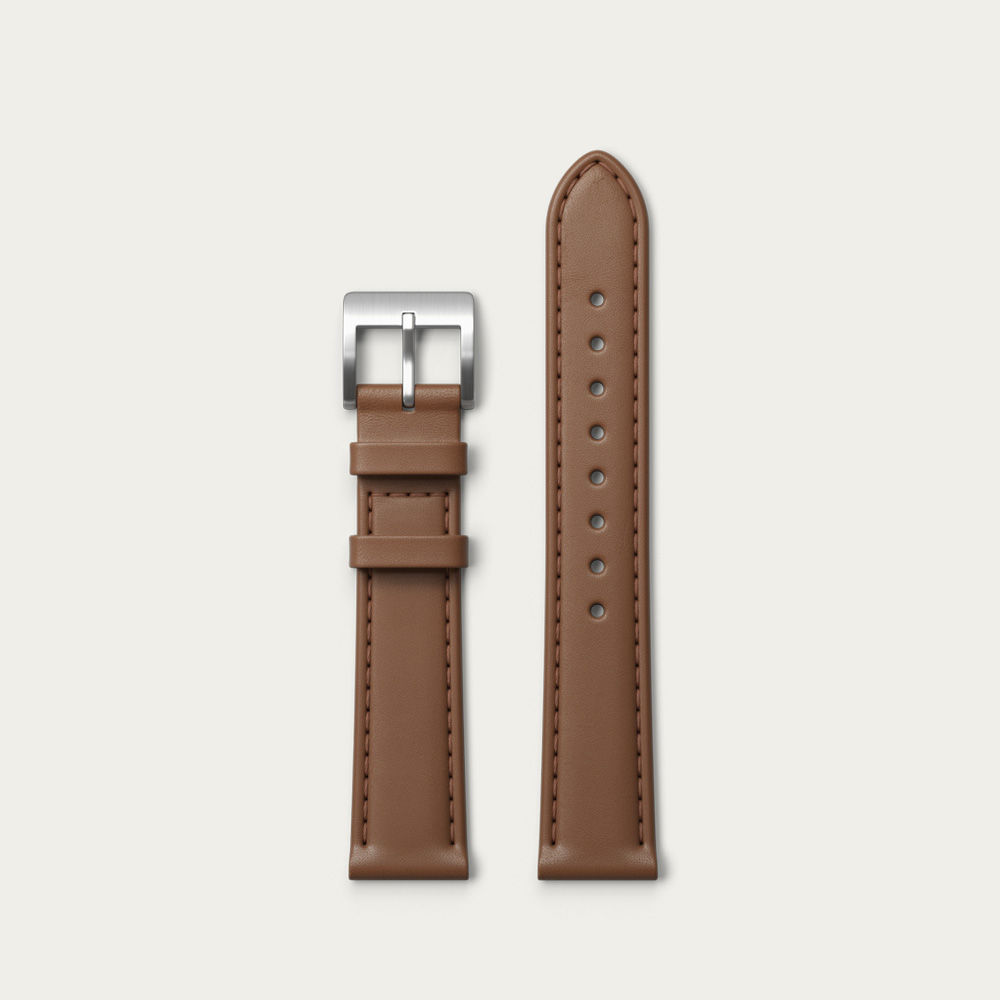 Silver / Tan Leather strap  | Bombinate