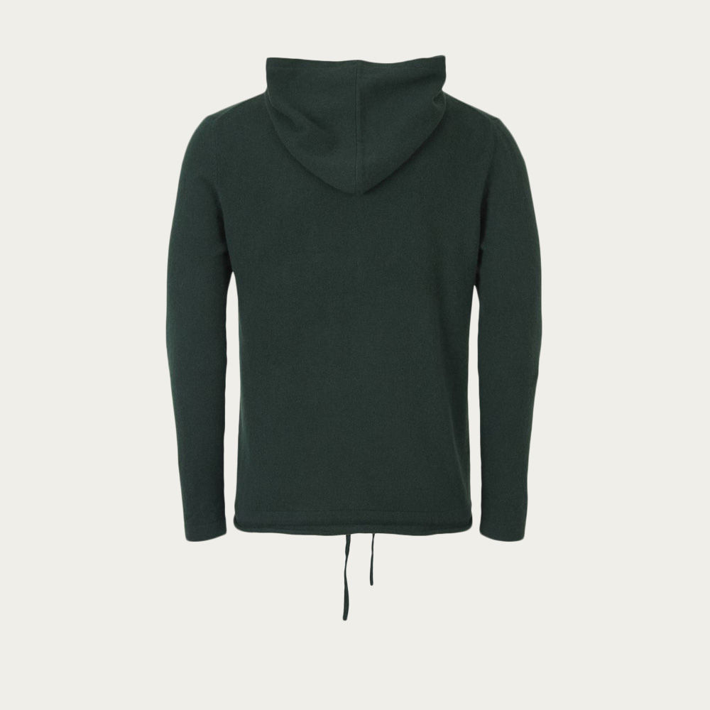 Bottle Green Cashmere Hoodie   | Bombinate