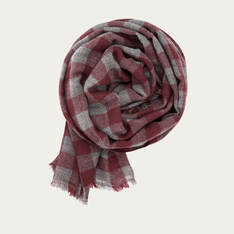 Grey and Cedar Classic Check Cashmere Scarf   | Bombinate