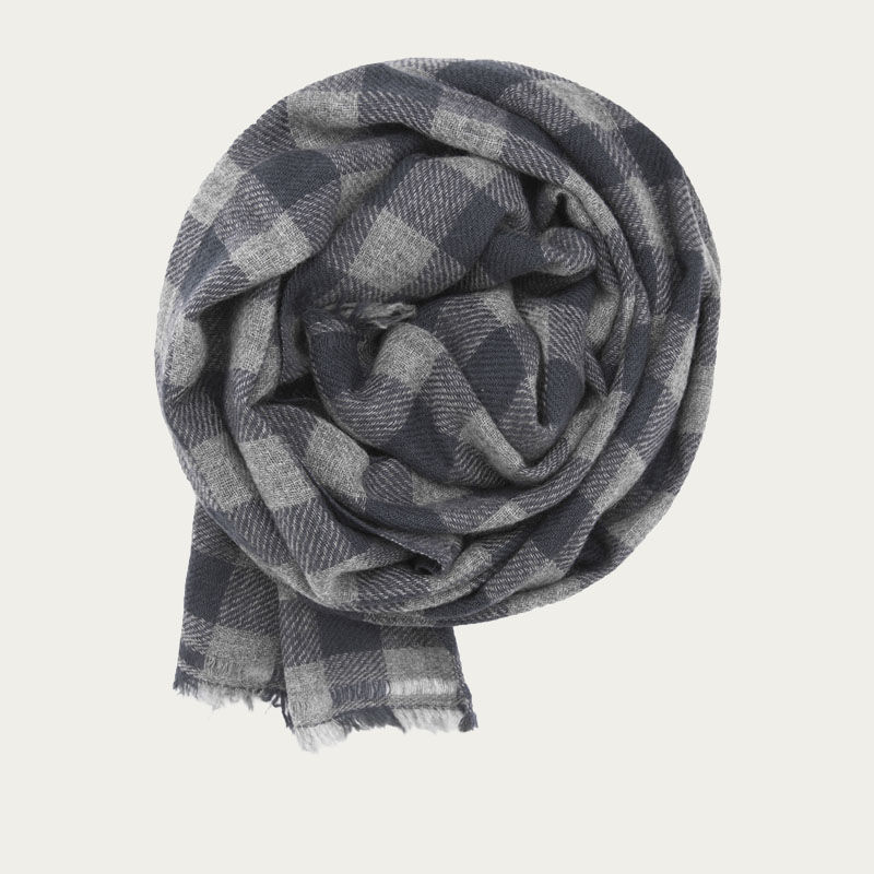 Grey and Teal Classic Check Cashmere Scarf   | Bombinate
