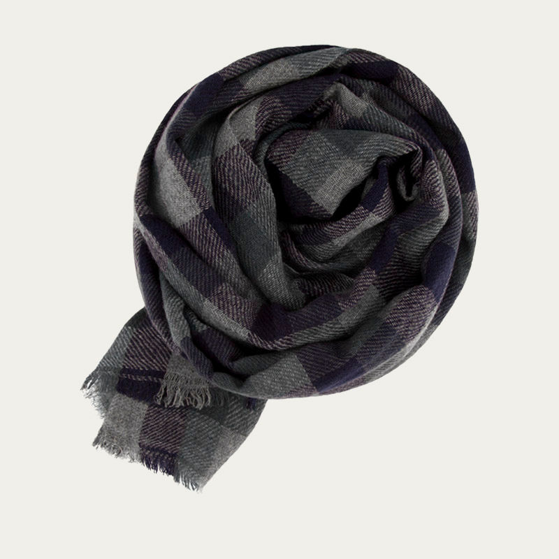 Grey, Navy and Teal Classic Check Cashmere Scarf   | Bombinate
