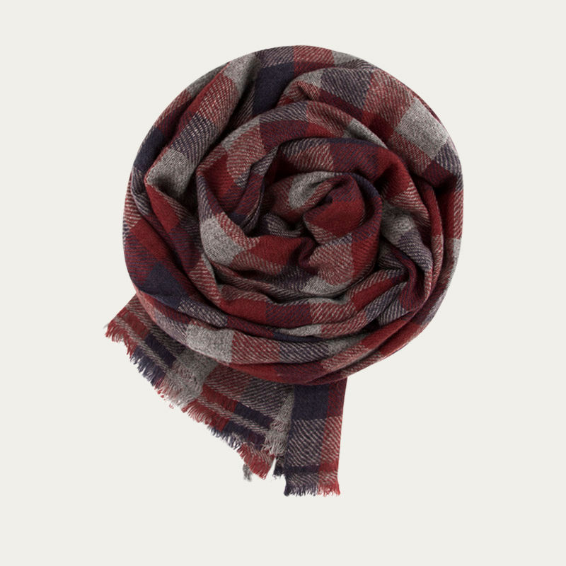 Grey, Indigo and Cedar Classic Check Cashmere Scarf   | Bombinate