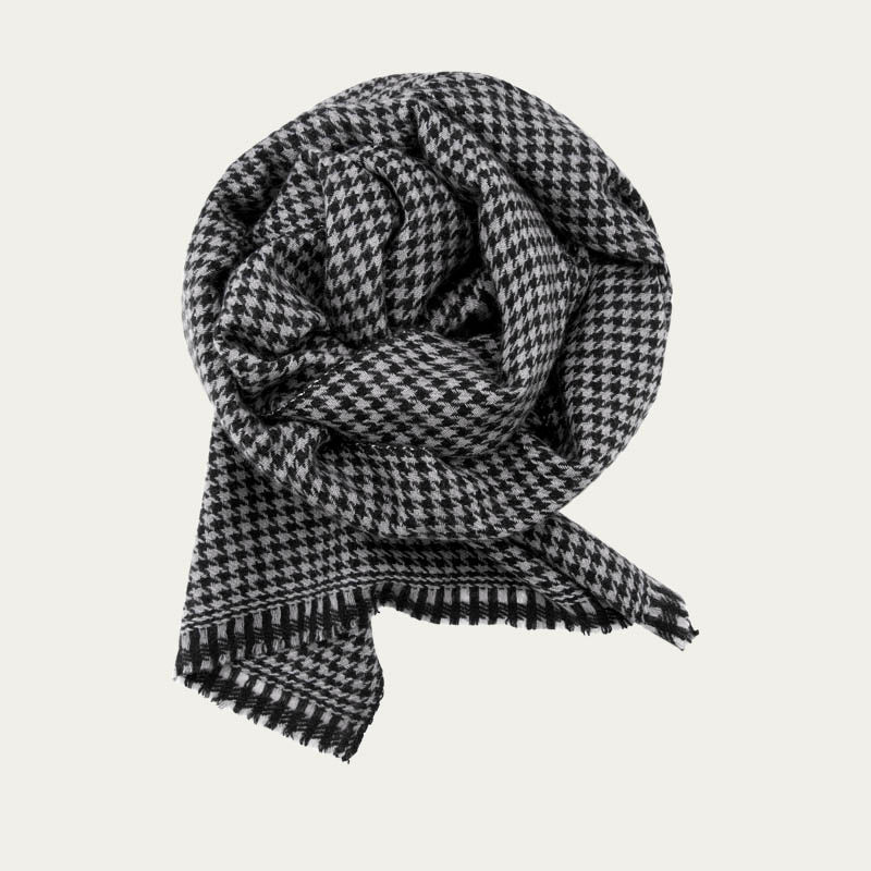 Classic Houndstooth Cashmere Scarf     Bombinate