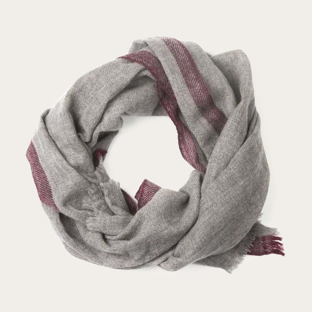 Grey Cedar Red Oxford Scarf   | Bombinate