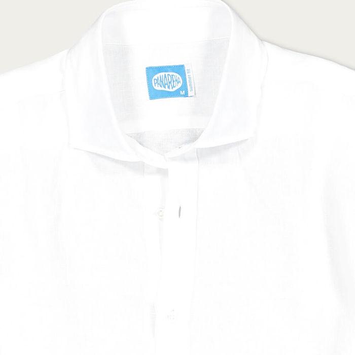White Mamanuca Linen Polera Shirt | Bombinate
