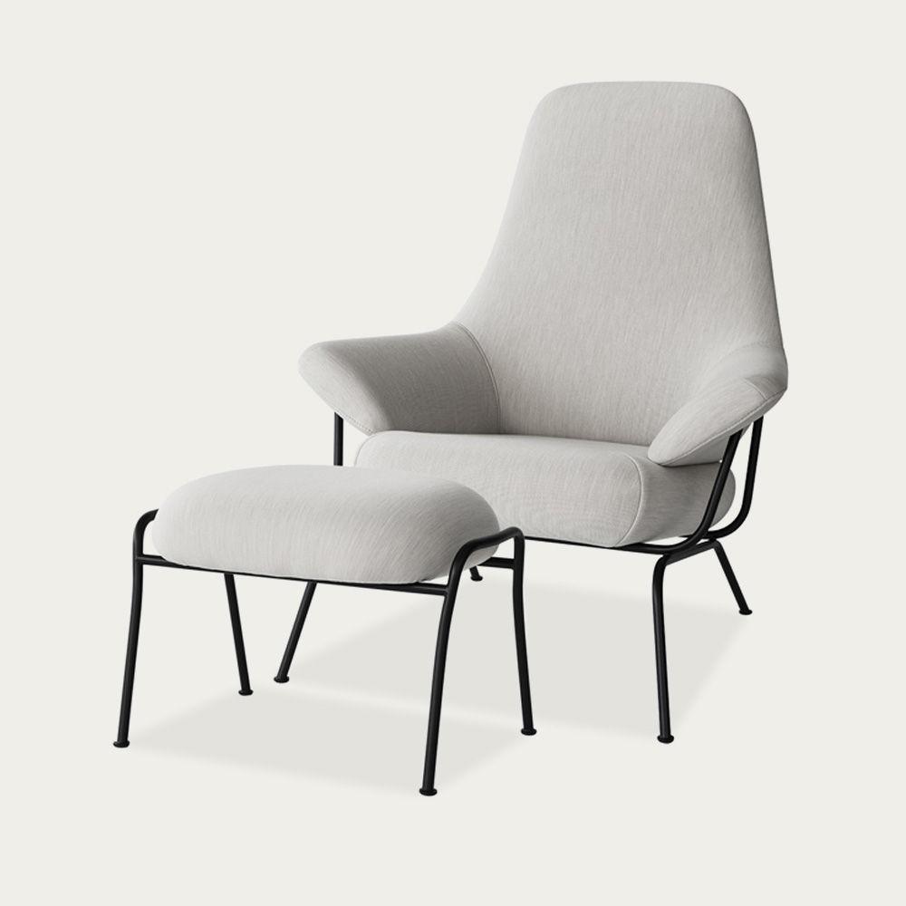 Light Grey Hai Chair + Ottoman by Luca Nichetto | Bombinate