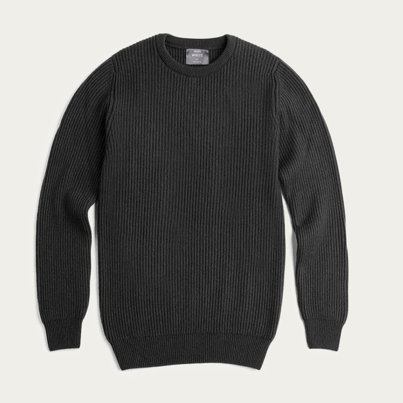 Charcoal Cashmere Ribbed Crew Neck  | Bombinate