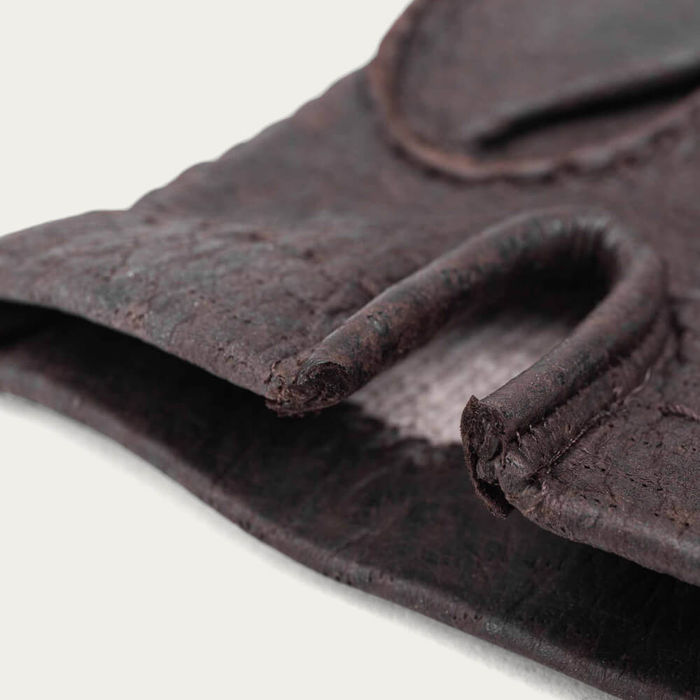 Brown Adriano Peccary Leather Gloves | Bombinate