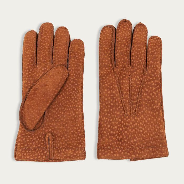 Tobacco Davide Carpincho Leather Gloves   Bombinate